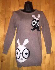 Tan Brown Nerd Glasses Bunny Rabbit Sweater w/ Mustache Pin Sz S Small