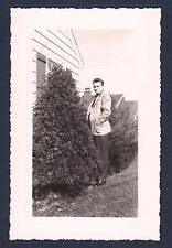 Man Lurking by the Bushes Smoking a Cigarette Vintage Photograph 1940's-50's