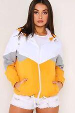 Womens Ladies Colour Block Windbreaker Contrast Festival Hooded Jacket Coat Top Mustard S