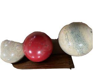 Antique Brunswick Billiards Carom Balls In Original Wood Box