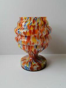 Retro Splatter Art Glass Vase Colourful End Of Day Unusual Vase