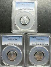1943 P/D/S  LINCOLN CENT PCGS  MS64  3- COIN SET