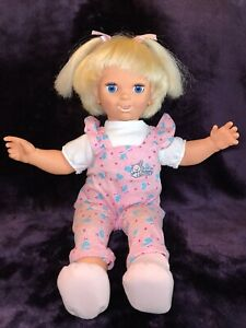 """1985 Galoob Baby Talk 20"""" Animated Interactive Talking Doll - Moves Eyes & Mouth"""