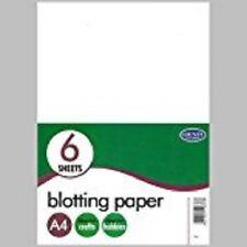 Papel secante A4 Paquete de 6 Hojas Oficina caligrafía Blanco