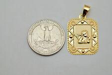 10K gold rectangular Guardian Angel pendant