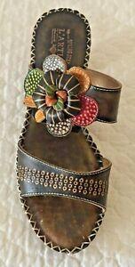 L 'Artiste Oceanside Spring Step Brown Leather Sandals Size 39