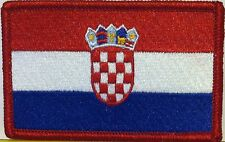 CROATIA Flag Iron-On Biker Patch Croatian Military Emblem Red  Border