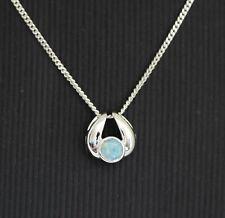 Natural Australian light opal 0.30ct pendant set in 18ct 18k white gold bezel