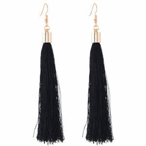 Black Gold Long Fringe Tassel Boho Statement Earrings Drop Party Dangle UK