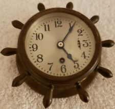 "Antique Working 1930's CHELSEA ""Manhattan"" Brass Ships Wheel Nautical Boat Clock"