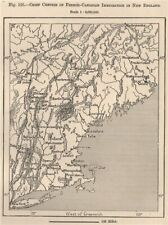 French-Canadian immigration in New England. USA. Canada 1885 old antique map