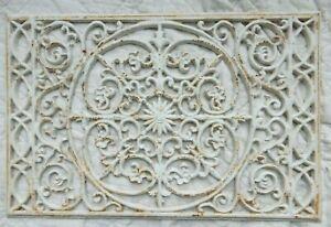 Antique Architectural Salvage White  Cast Iron Floor Grate Vent Register