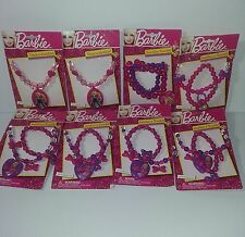 """Barbie Girls Necklace Pink 16"""" Bracelet Purple Bows New Lot of 8 Party Gifts"""