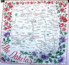 Franshaw Tag State Hankie The Dakotas Handkerchief Vintage State Souvenir Hanky