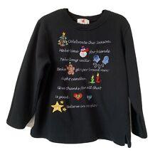 "Quacker Factory Large Christmas Top Sweatshirt Pullover ""Celebrate The Season"""