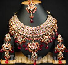 Neo Jodha Akbar Bollywood Kundan Gold Tone CZ Indo Jewelry Set S41 Magenta