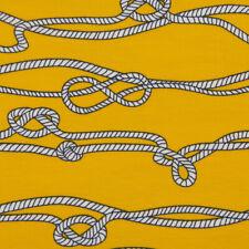 Baumwolljersey Jersey Tau Knoten gelb weiß schwarz 1,50m Breite