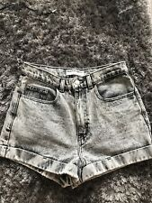 """American Apparel Jeans Lavado Negro/Gris con cintura alta pantalones cortos. 28""""/8-10"""