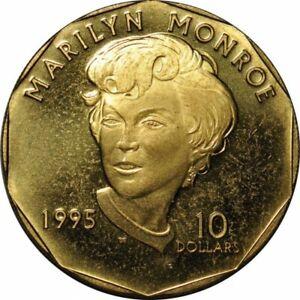 1995 Marshall Islands $10 Dollars Marilyn Monroe Brass -Nice Choice BU!-d1296dxx