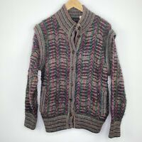 Vintage Wool Blend Italy Grandpa Core Button Front Sweater Mens Size Large