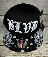 MENS BLVD SUPPLY BLACK WHITE SNAPBACK CAP ADJUSTABLE HAT ONE SIZE
