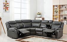 Classic Large Bonded Leather Reclining Corner Sectional Sofa - Grey