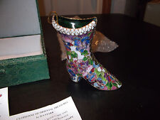Floral Cloisonne Boot Hanging Decorative Ornament Old-fashioned Victorian Shoe