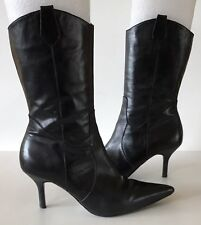 Steve Madden CONFESS Black Leather Zip Pointed Toe Mid-Calf Boots US 9 M