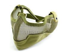 V2 Strike Steel Lower Face Mesh Mask /w Ear Cover / Green (KHM Airsoft)