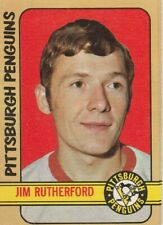 1972-73 OPC #15 JIM RUTHERFORD ROOKIE CARD, PENGUINS, EX.