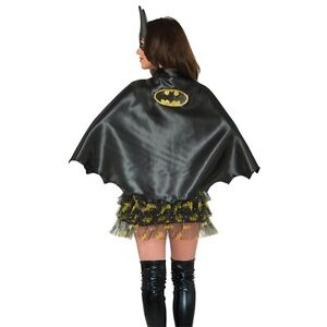 Adult Batgirl Cape Short Black Superhero Cape Adult One Size