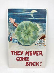 Vintage 1912 Postcard Man Sitting On Beach With Umbrella Under The Moon Light