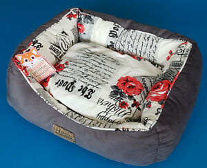 """Modern Soft Plush Pet Bed for Cats or Small Dogs Inside 13""""x11"""" Outside 21""""x18"""""""