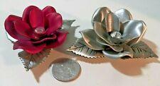 "2 Beautiful Rare CAMCO Metal Roses w Clear Rhinestones in Center  3 1/4"" Diam."