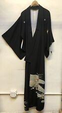 Vintage Japanese Silk Kimono Black  Flower Embroidered Great Condition.