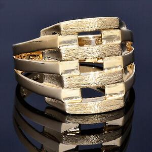 Wuchtiger Glänzender Ring 585 14K ECHT GOLD 56RG MASSIV Goldring NEU Herrenring