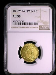Kingdom of Spain 1802 M FA Gold 2 Escudos *NGC AU-58* Very Sharp Looks Better