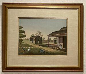 1750 QING Original Chinese Antique Painting Gouache Tea Plantation FRAMED