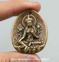 "1.6"" Nepal Tibetan Buddhism Bronze Kwan-yin Tara Guan Yin Goddess Amulet Pendant"