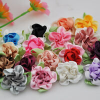 20 pcs 2tone Satin Ribbon Flowers Bows Appliques Craft Wedding U pick B47