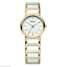 Brand New Bering White & Gold Ceramic Bracelet 26mm Ladies Wrist Watch 30226-751