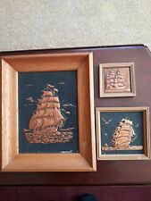 Hammered Copper Nautical Ships Wall Art Set Signed Dumont Vintage 3