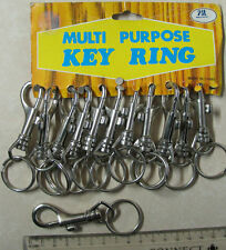 12 x Spring Clip Keyring key ring dog multipurpose on a card New