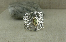 Sterling Silver & 10K Celtic Guardian Angel Ring with Peridot KEITH JACK size 6