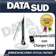 Lampada  MEDIACOM LED Scrivania caricabatteria USB Smartphone/Tablet M-LAMP4USB