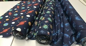 PRINTED NAVY COTTON JERSEY FABRIC: 150CM WIDE : PRICE PER 1/2 METRE