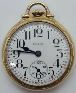 1921 ELGIN 'Father Time' 454 Montgomery Dial 21J Railroad Grade G.F Pocket Watch