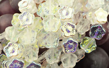 12 Crystal AB Czech Glass Flower Beads 12MM