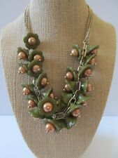Beaded Necklace Delightful! Vintage Molded Plastic Floral