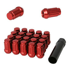 20pc 12x1.5 Lug Nuts with Key | Cone Seat | Long Closed End | Red Steel Spline